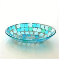 ガラスのオーバルプレートに張った ゼリーのようなモザイクガラスが綺麗です  アクセサリーなどの小物入...