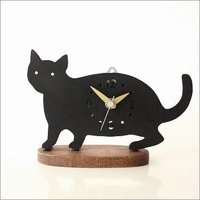 クロネコの時計は 3タイプのポーズが可愛い置時計 金色の針がお洒落  そっと・・忍び寄る いたずらポ...