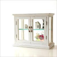 やわらかいマンゴー材を使用した家具シリーズの ガラスショーケース  レトロで素朴な風合いに仕上げられ...