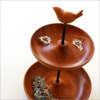 アフターヌーントレイのように 木製のお皿が2段重なった便利なトレイ  アクセサリーを入れたり 玄関先...