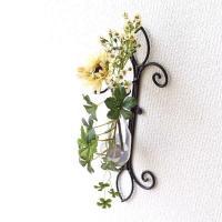 花瓶 花びん フラワーベース おしゃれ ガラス アイアン壁掛けベース エンブレム