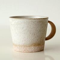 人気のある大きなマグカップに ナチュラルなマグが登場です 持ち手は素朴な素焼き仕上げ 一つ一つ、焼き...