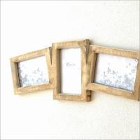 同じサイズの写真が3枚入る ウッドの壁掛け用フレーム カーブのある並びと素朴なイメージが 壁に掛ける...