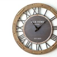 インテリアとして置くだけで ヴィンテージの世界を演出できる 大きな掛け時計です  アイアンスチールの...