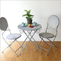 丸いフォルムが可愛いデザイン  椅子は折り畳み式で さっと、かたづけができ テーブルも軽く、移動も楽...