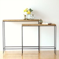 シンプルでスッキリした アイアンのラインが魅力の アイアンとウッドのコンソールテーブル  天然木の棚...