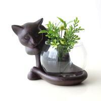 花びん 花瓶 フラワーベース ガラス 猫 オブジェ  一人り占めのねこさん  丸いグラスに小さなお花...