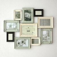 アンテークグリーン、バニラホワイト、ブラックの お洒落なカラーを組み合わせた壁掛け用フレーム  写真...