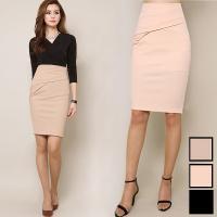 ■特 徴 シンプルで使いやすいタイトスカート。 斜めに入ったアレンジピンタックが特徴的で、 ウエスト...