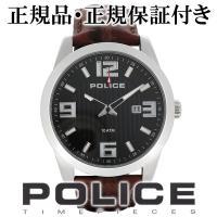 (腕時計 メンズ POLICE ポリス 人気ブランド 男性 革ベルト メンズ腕時計)  文字盤をブラ...