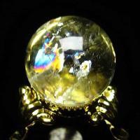 虹入り シトリン水晶 丸玉 21mm t294-2374