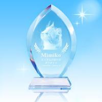 写真彫刻代込み 天使の羽メモリアル ペット位牌 クリスタル ドロップ型 送料無料