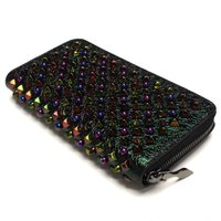 クリスチャン ルブタン CHRISTIAN LOUBOUTIN 3165035 PANETTONE WALLET CALF PARIS/SPIKES B123 BLACK/CANGIANTE ラウンドファスナー