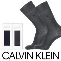 Calvin Klein カルバンクライン ビジネスソックス 2足組 ギフトセット ロゴ刺繍 リブ クルー丈 ブランド靴下 メンズ CK-20 ポイント10倍 メール便不可