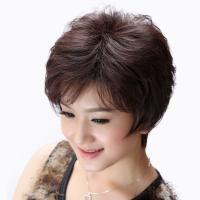 Yz-00259 女性用かつら フルウィッグ  ショート 人毛100% 中高年 母のウィッグ ショート 通気性抜群 かつら  ふんわり