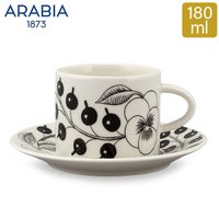 アラビア Arabia ブラック パラティッシ ブラパラ カップ & ソーサー セット 180mL Paratiisi Cup Saucer マグ 皿 食器 フィンランド