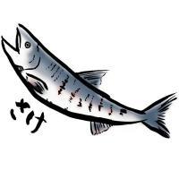 Tシャツ/海の生き物/さけ/鮭/ホワイト