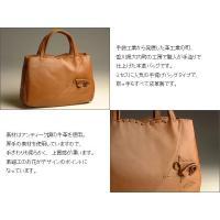 日本製 牛革 コサージュ付きトートバッグ