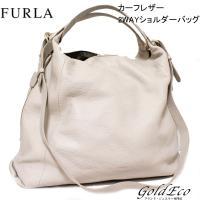 FURLA【フルラ】カーフレザー 2WAYショルダーバッグ グレー ハンドバッグ トートバッグ【中古...