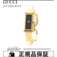 GUCCI【グッチ】バングル レディース1500 ブラック文字盤 ゴールドクォーツ QZ GP腕時計...
