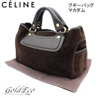 CELINE 【セリーヌ】 ブギーバッグ スエード レザー  マカダム柄 ブラウン CE00/22 ...