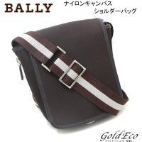 BALLY【バリー】 キャンバス/レザー 斜め掛けショルダーバッグ ダークブラウン 茶色 メンズ レ...