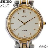SEIKO【セイコー】 ルーセント メンズ QZ  腕時計 シルバーゴールド ×アイボリー文字盤  ...