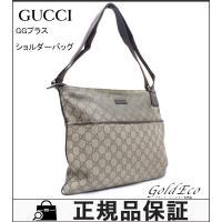 GUCCI【グッチ】 GGプラス ショルダーバッグ 斜め掛け 141198 PVC ベージュ ブラウ...