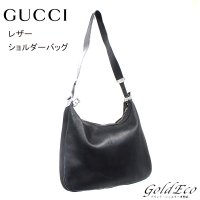 GUCCI 【グッチ】レザー ショルダーバッグ ブラック Gフック 001・3341 【中古】 シル...