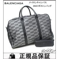 BALENCIAGA【バレンシアガ】 BB ロゴ 2WAYボストンバッグ ナイロン/レザー シルバー...
