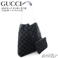 GUCCI 【グッチ】 GGスエード トートバッグ ショルダーバッグ 001・3181 ブラック 黒...