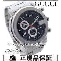 【送料無料】GUCCIグッチ Gラウンド101Mメンズ腕時計クォーツクロノグラフデイト表示SSブラッ...