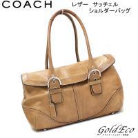COACH【コーチ】 レザー フラップ サッチェル ショルダーバッグ 9636 ブラウン ハンドバッ...