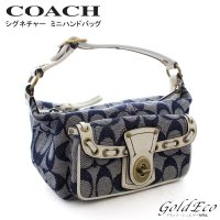 COACH 【コーチ】 シグネチャー ハンドバッグ 40315 キャンバス レザー デニム ホワイト...