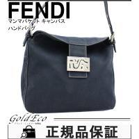 FENDI【フェンディ】マンマバケット ショルダーバッグ キャンバス ネイビー ハンドバッグ レディ...