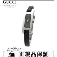 GUCCI【グッチ】SS×レザーベルトレディース クォーツ腕時計3900L ブラック文字盤【中古】