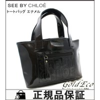 See by Chloe 【シーバイクロエ】ハンドバッグ トートバッグ エナメル ブラック ロゴ 黒...