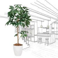 人工観葉植物 鉢植え インテリアグリーン 光触媒 造花 /パキラトピアリー120cm 193A18014