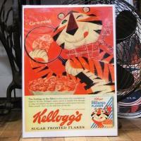 アメリカのシリアル食品と言えば、日本でもお馴染みのケロッグのB4サイズのポスターです。オールドタイプ...