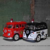 ポリスカー&ファイヤーファイター ダイキャストミニカー 2Pセット Little Van ワーゲンバス パトカー&消防車