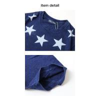 抜染プリントインディゴTシャツ メンズ カットソー Tシャツ 半袖 メール便1限定送料無料/代引き不可