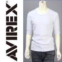 アビレックス・デイリー・リブシリーズのUネック・五分袖・Tシャツ♪  ファブリックに、綿95%・ポリ...