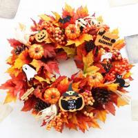 ハロウィン アーティフィッシャルリース(フェイク)  秋の飾りにピッタリ♪オレンジ系の秋リースです。...