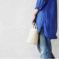 【ABACA】 グランデ バッグ : ホワイト、麻バッグ、アパカバッグ、トートバッグ、カゴバッグ、マルシェバッグ、かばん、ファッション小物