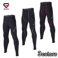 GronG スポーツタイツ メンズ ロング タイツ レギンス UVカット UPF50+ コンプレッションウェア アンダーウェア