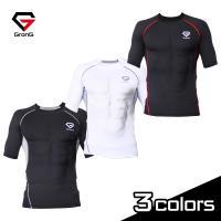 GronG コンプレッションウェア アンダーシャツ スポーツシャツ メンズ 半袖