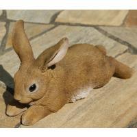 ガーデンオーナメント ラビット うさぎ 茶 伏せ ウサギ 置物 オブジェ 玄関 庭 飾り ガーデニング