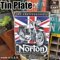 英国の老舗モーターサイクルメーカー『NORTON』。 ヴィンテージバイクデザインのUSED感ある錆び...