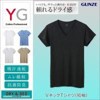 DRY&DEOシリーズのV首Tシャツ(短袖)です。  【素材ポイント】 本体の素材は羽のように軽く上...