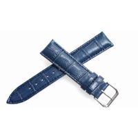 腕時計 21mm 用のレザーベルト。 バンドカラーはネイビー、バックルは一般的なピンインバックルにな...